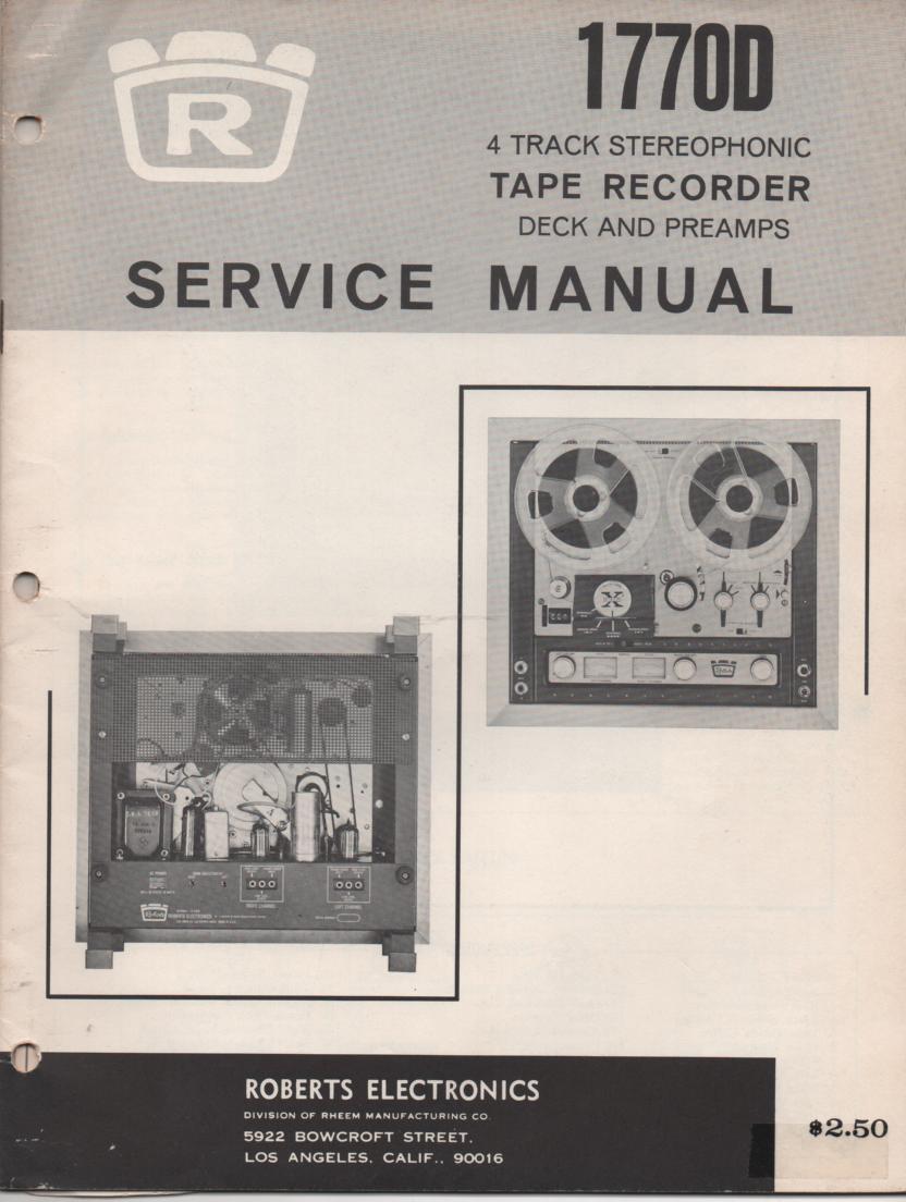 1770D Reel to Reel Service Manual