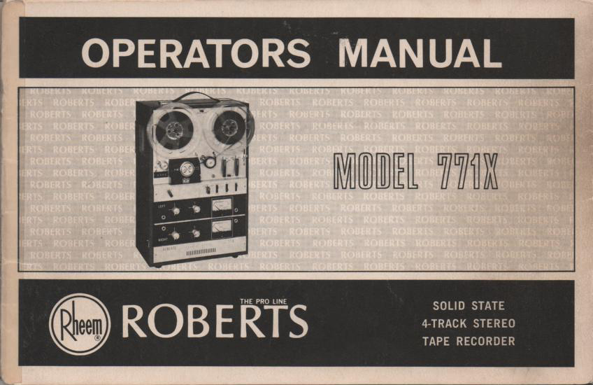 771X Reel to Reel Operating Instruction Manual