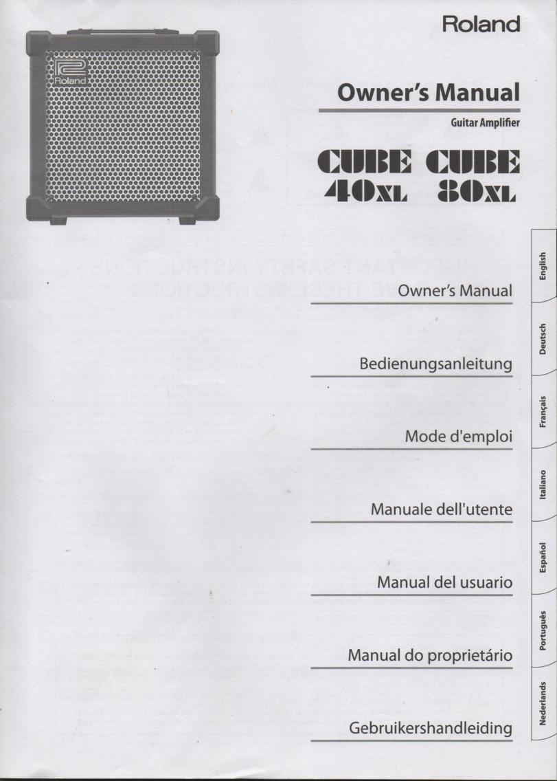 Cube 40 XL Cube 80XL Guitar Amplifier Owners Operating Instruction Manual.  English Version.