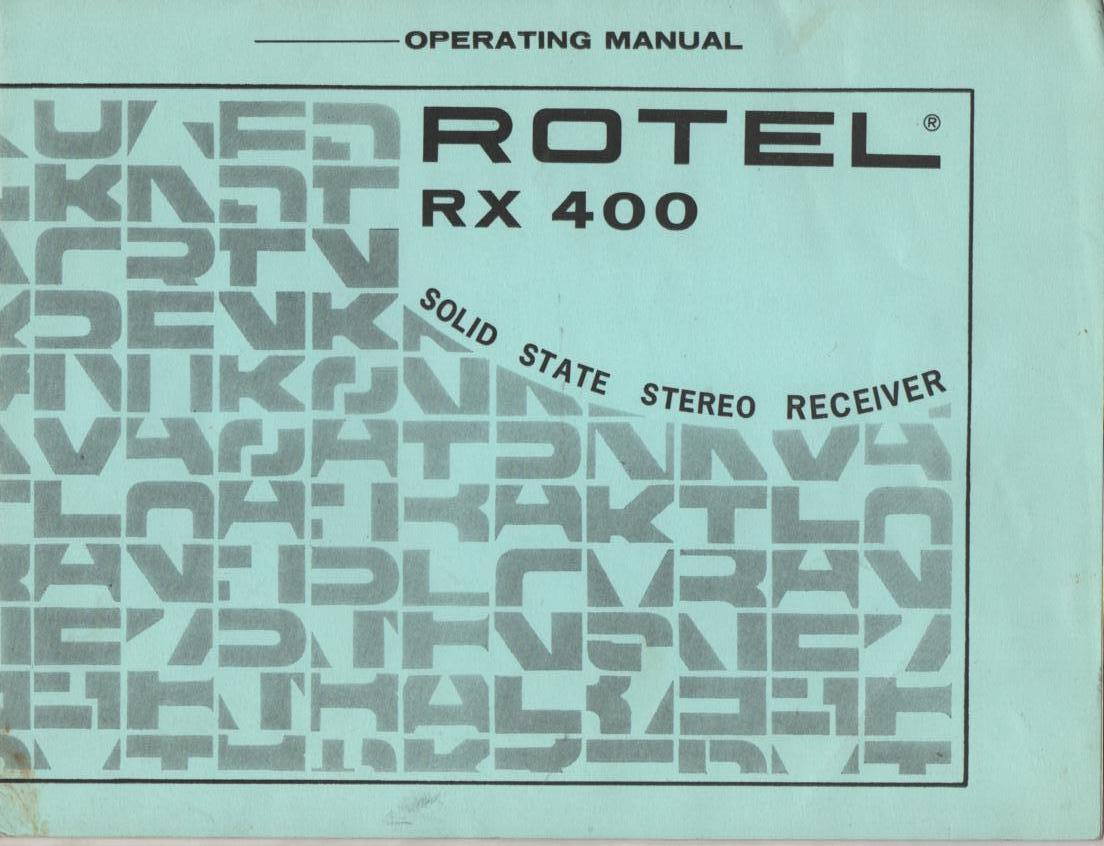 RX-400 Receiver Owners Manual with Schematic