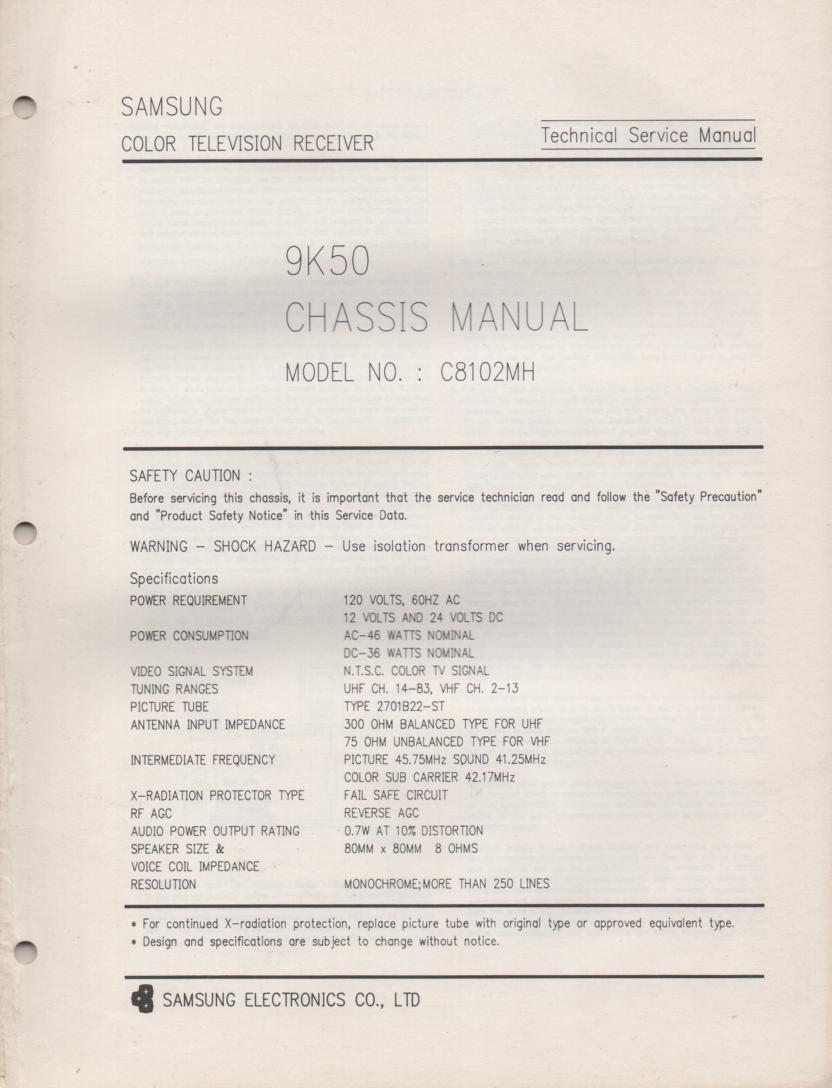 C8102MH Television Service Manual 9K50 Chassis Manual