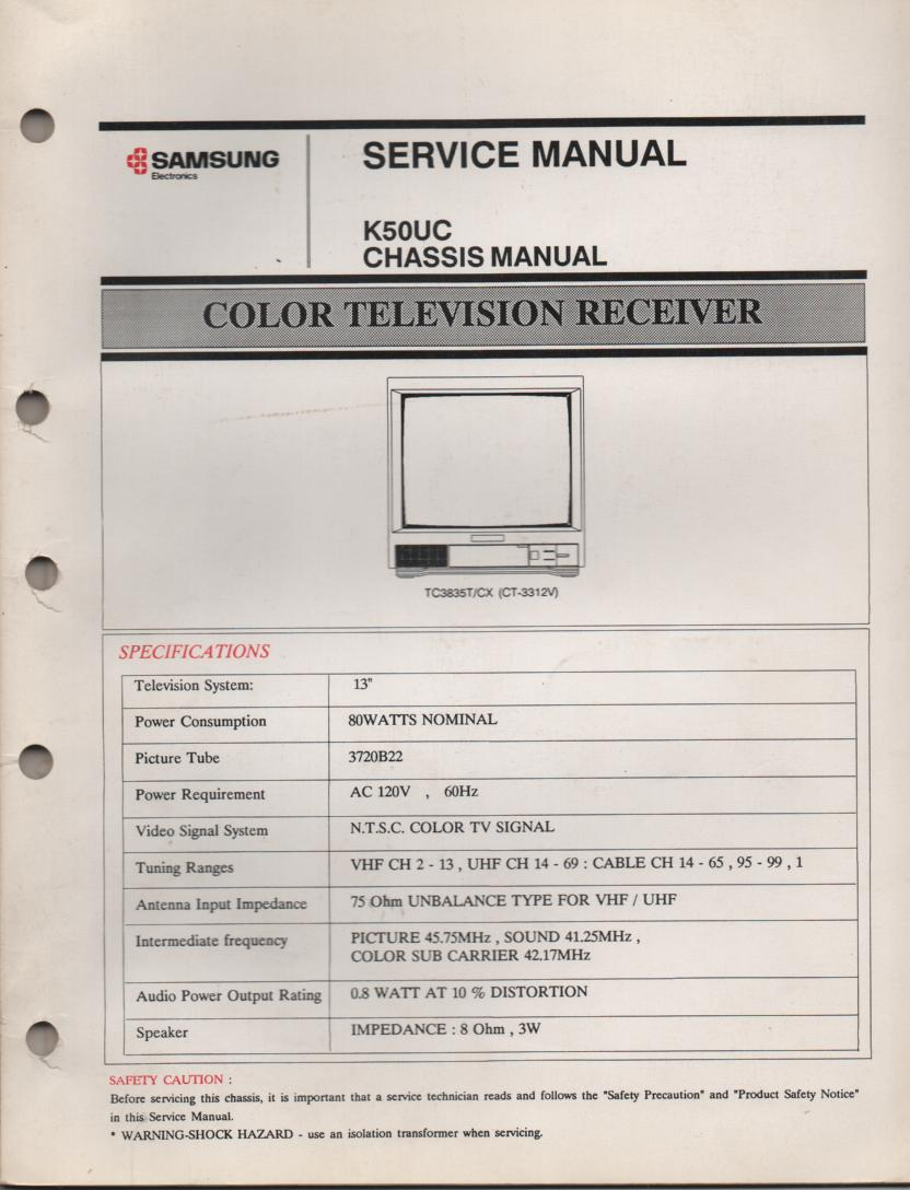 CT3312V TC3835T TC3835CX Television Service Manual K50UC Chassis Manual