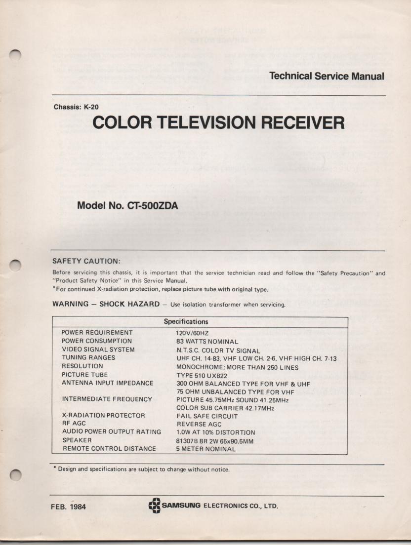 CT500ZDA TELEVISION Service Manual K20 Chassis Manual