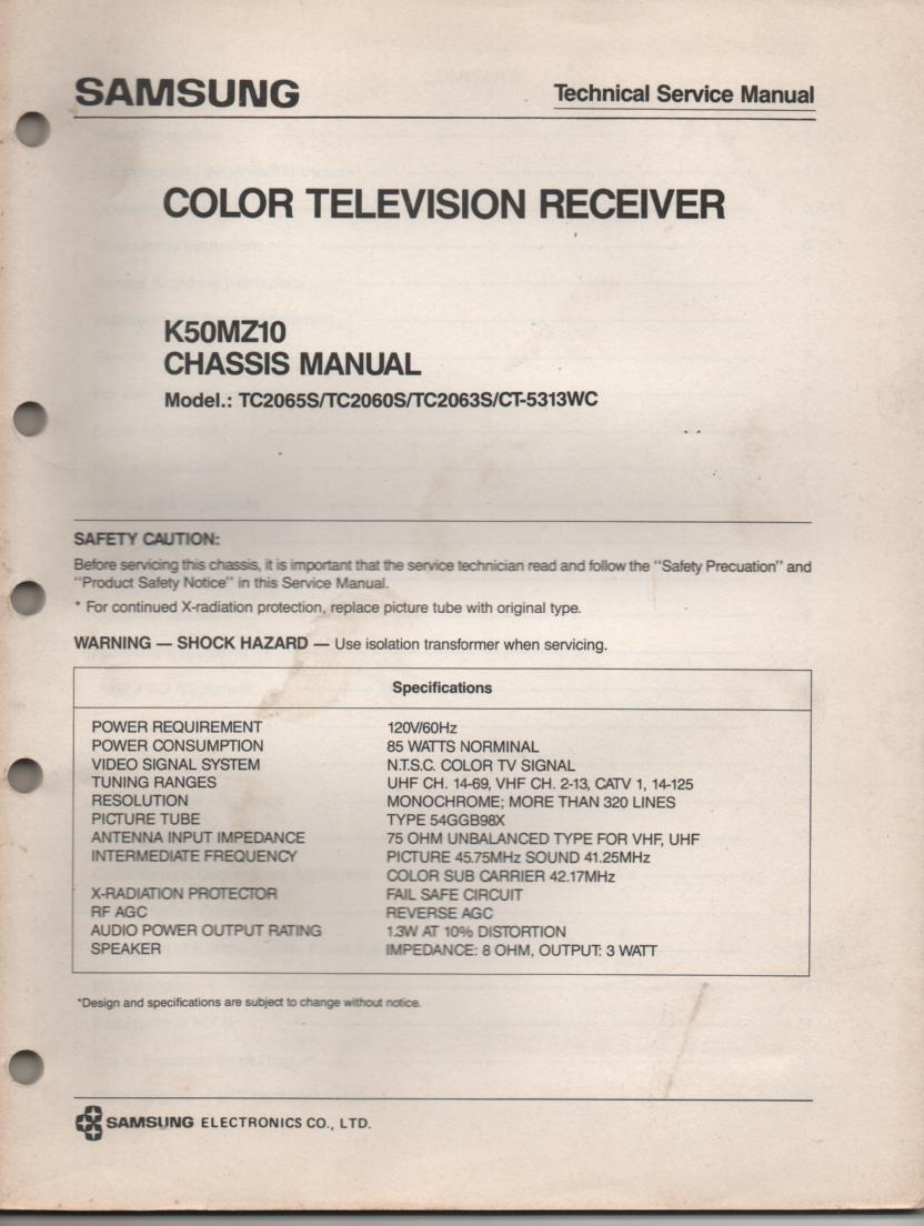 CT5313WC TC2065S TC2060S TC2063S Television Service Manual K50MZ10 Chassis Manual