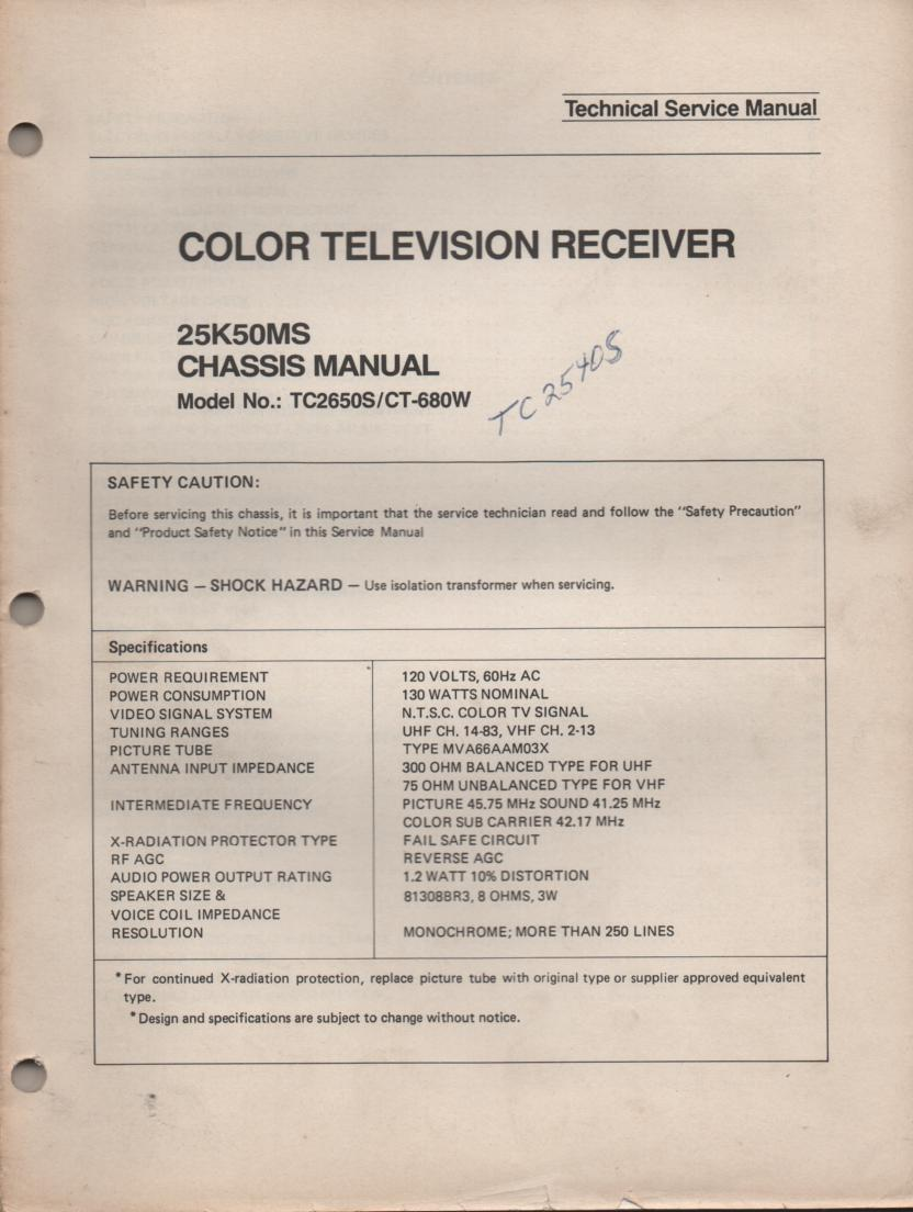 CT680W TC2540S TC2650S Television Service Manual 25K50MS Chassis Manual