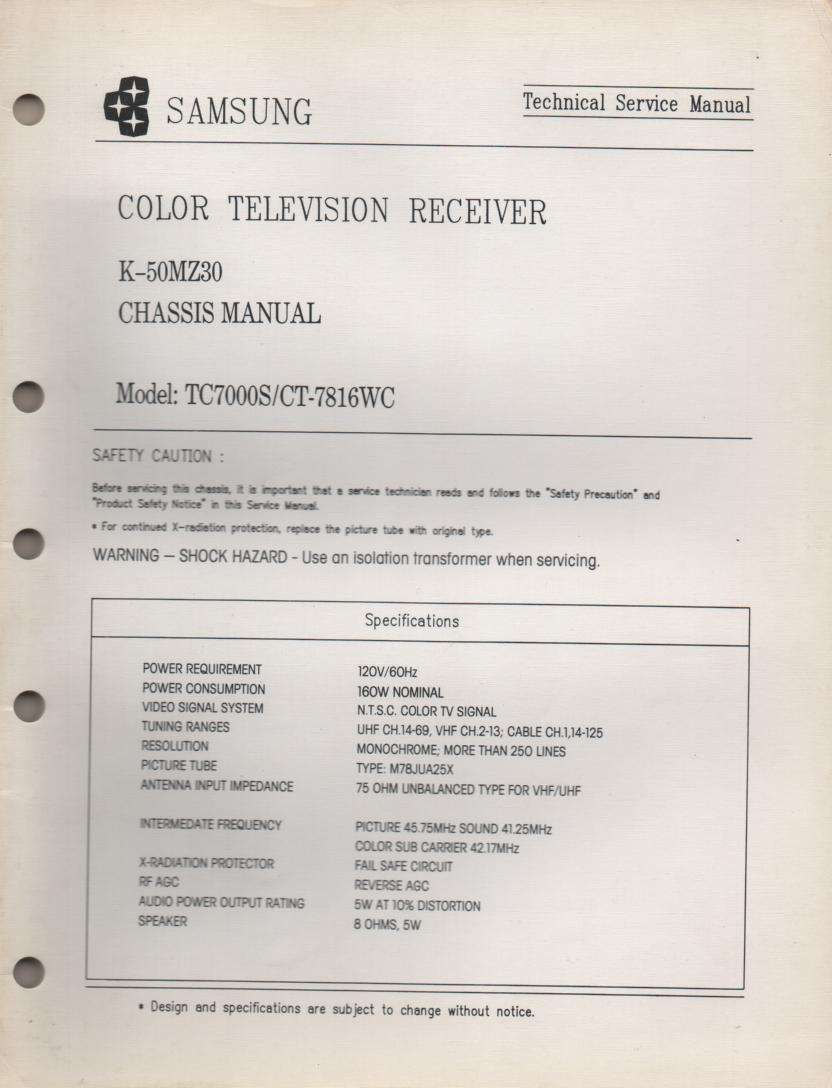 CT7816WC TC7000S Television Service Manual K50MZ30 Chassis Manual