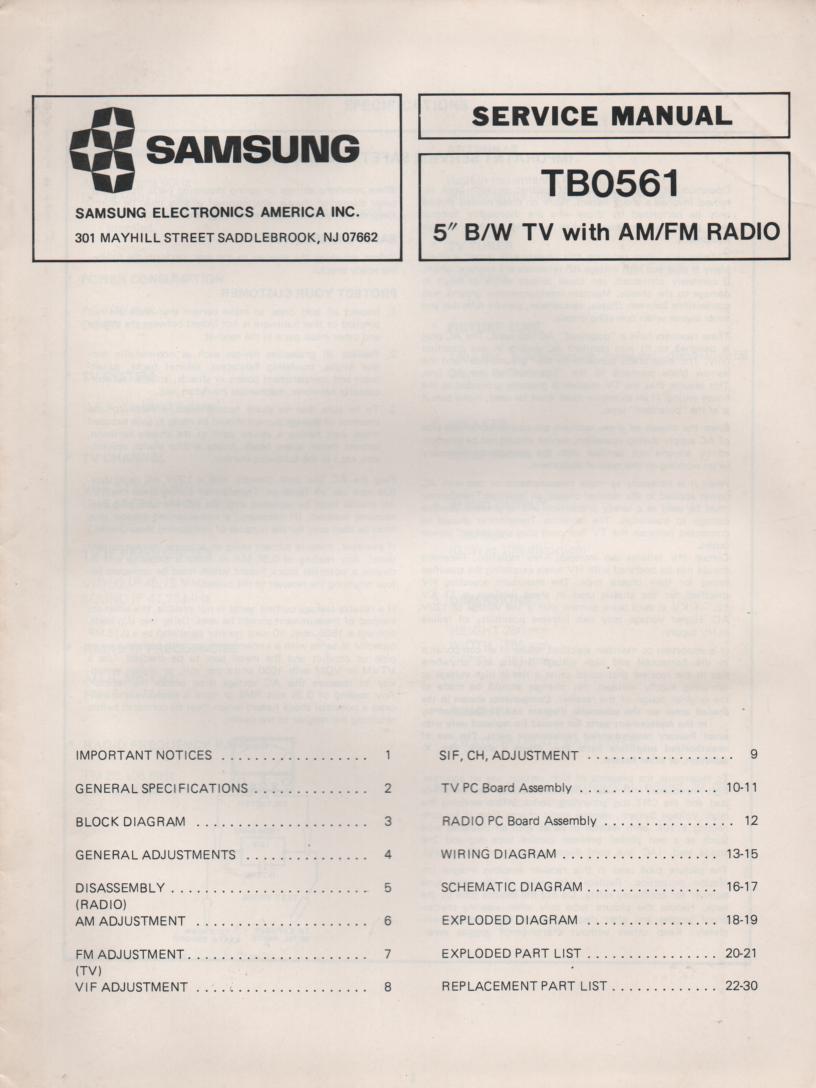 TB0561 Television AM FM Radio  Service Manual