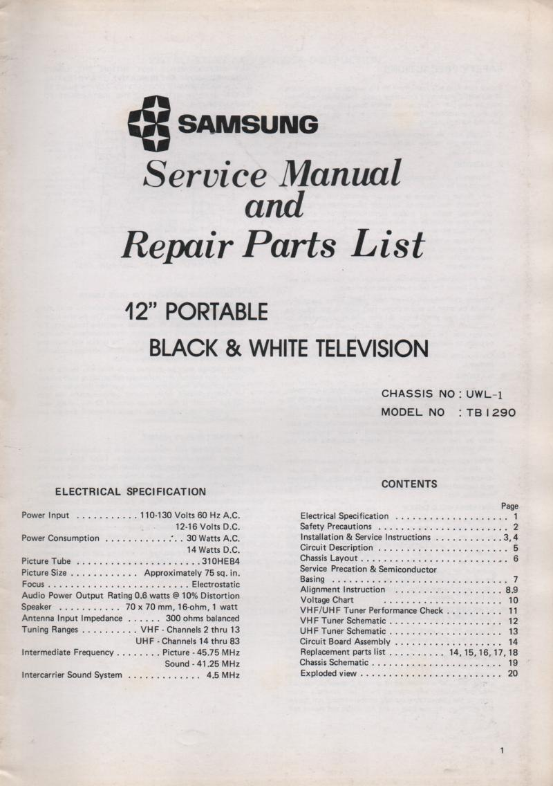 TB1290 Television Service Manual UWL-1 Chassis Manual