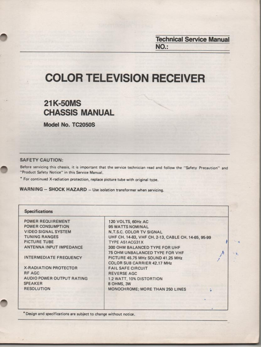 TC2050S Television Service Manual 21K-50MS Chassis Manual
