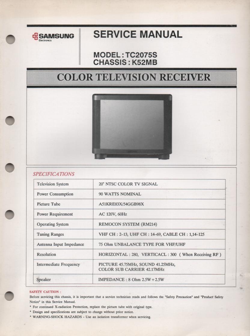TC2075S TELEVISION Service Manual K52MB Chassis Manual