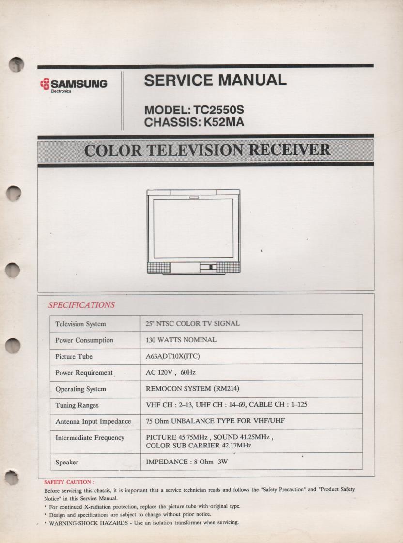 TC2550S Television Service Manual K52MA Chassis Manual