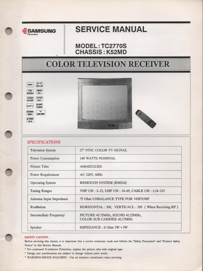 TC2770S Television Service Manual K50MD Chassis Manual