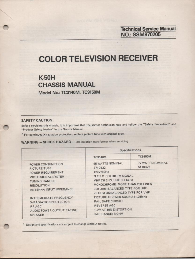 TC3140M TC9150M Television Service Manual K50H Chassis Manual