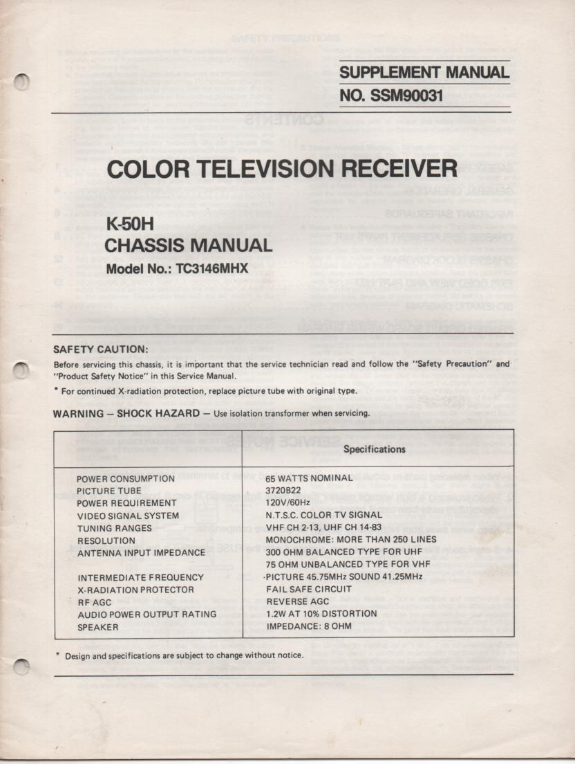 TC3146MHX TELEVISION Supplement Service Manual K-50H Chassis Manual