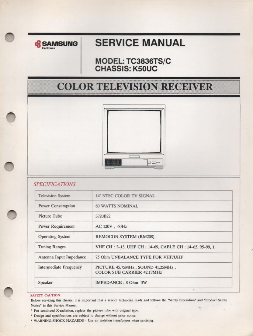 TC3836TS TN3866TC TELEVISION Service Manual K50UC Chassis Manual