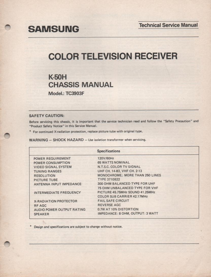 TC3903F TELEVISION Service Manual K50H Chassis Manual