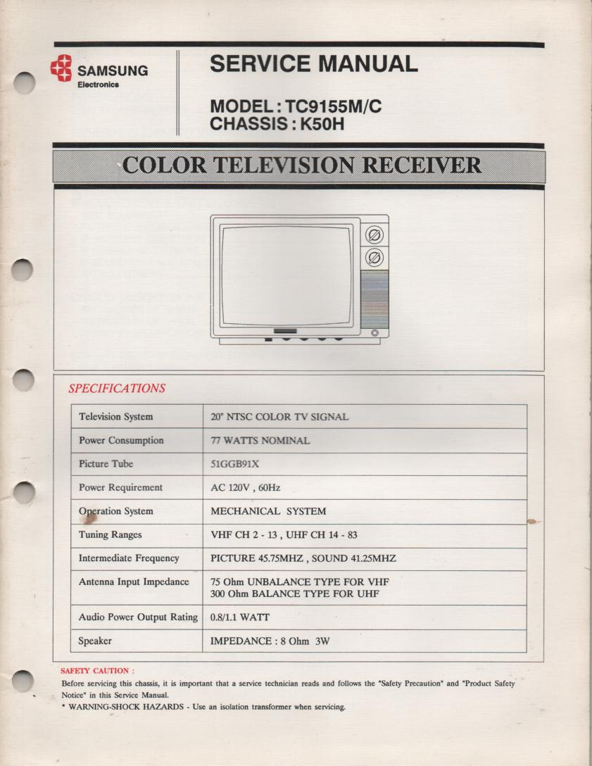 TC3145M TC9155M Television Service Manual K50H Chassis Manual
