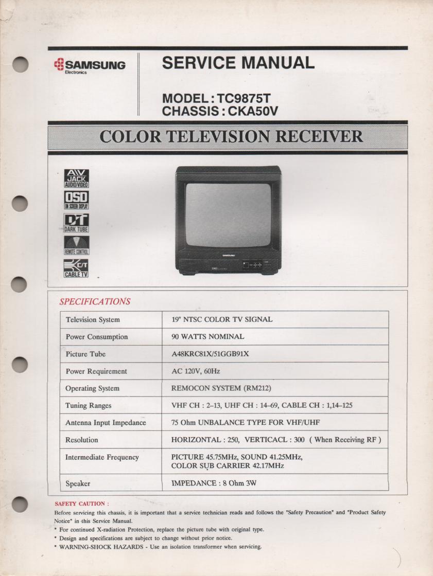 TC9875T Television Service Manual CKA50V Chassis Manual