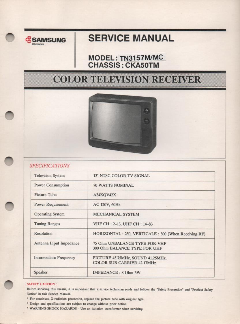 TN3157M TN3157MC Television Service Manual CKA50TM Chassis Manual