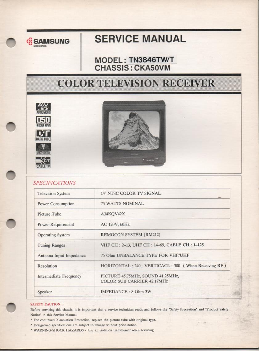 TN3846TW TN3846T Television Service Manual CKA50VM Chassis Manual