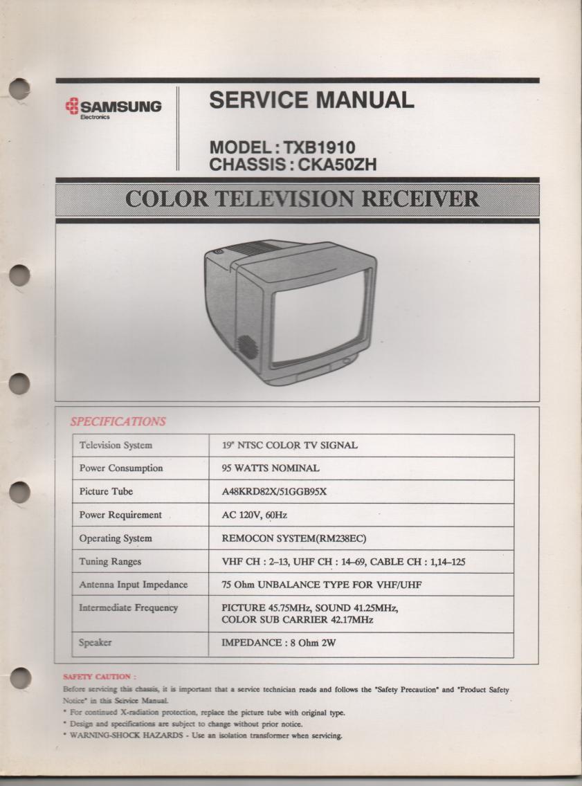 TXB1910 Television Service Manual CKA50ZH Chassis Manual