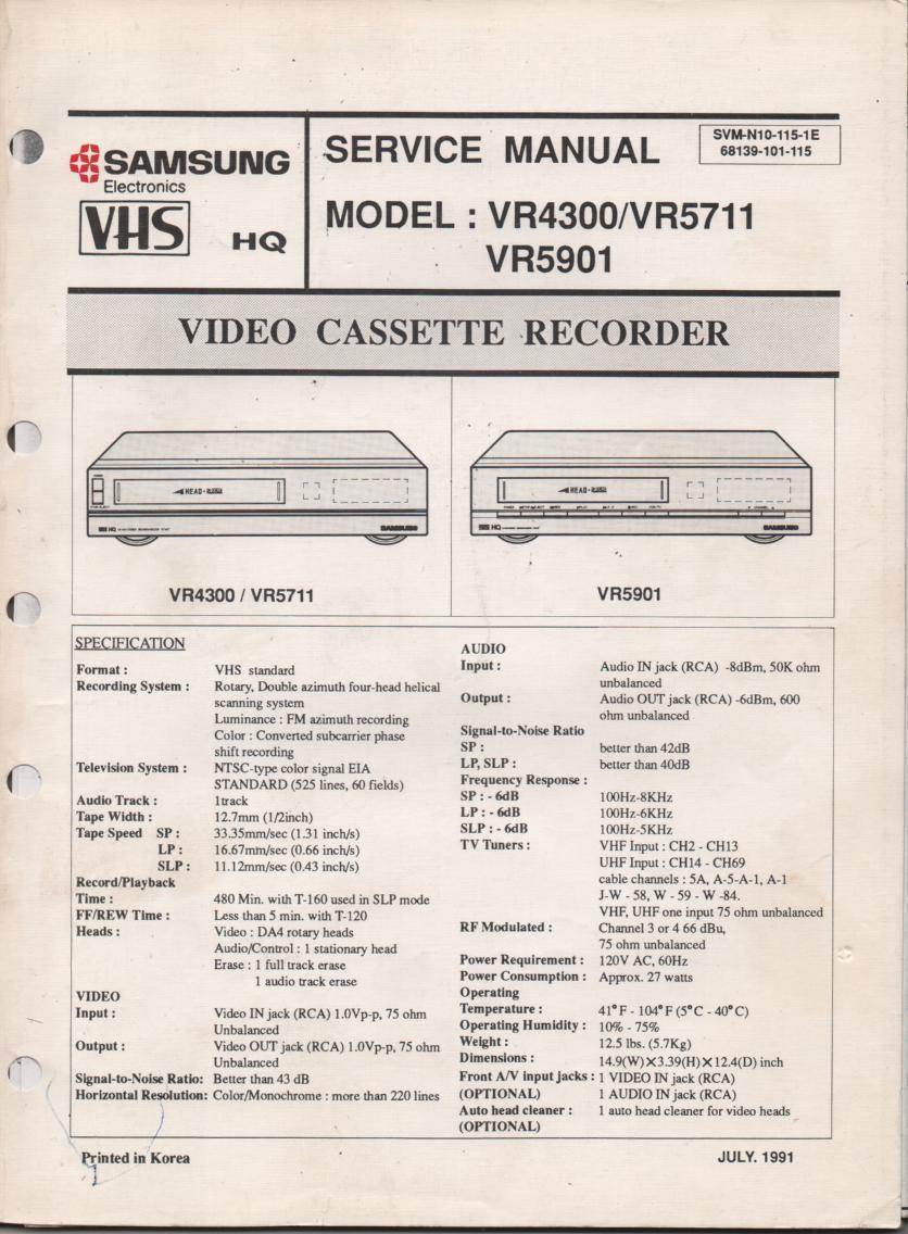 VR4300 VR5711 VR5901 VCR Service Manual