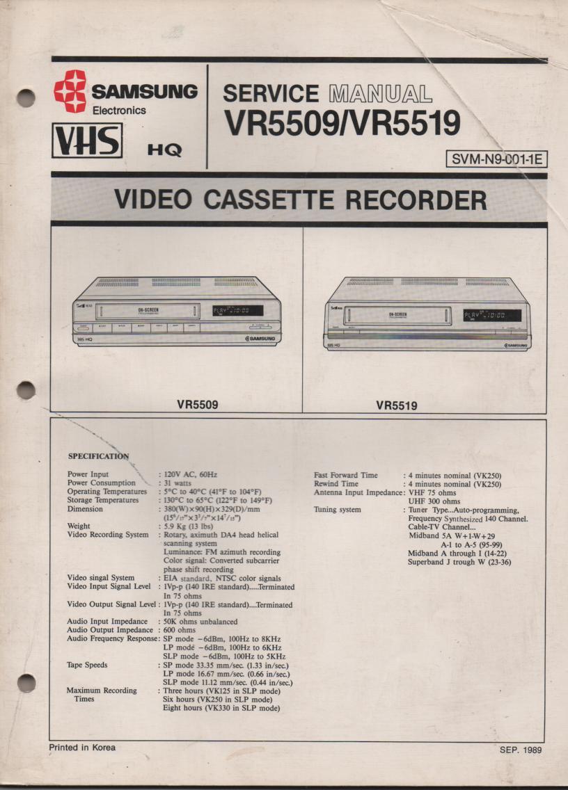 VR5509 VR5519 VCR Service Manual