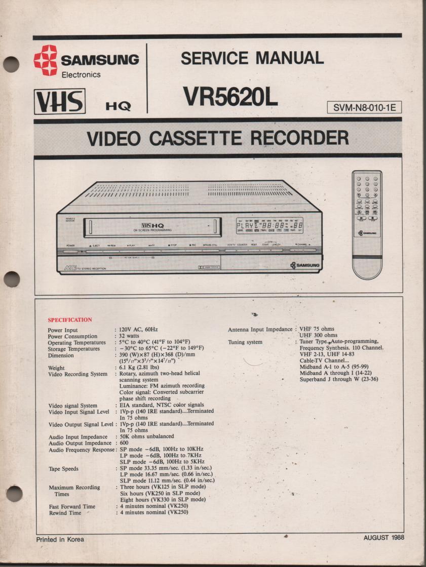 VR5620L VCR Service Manual