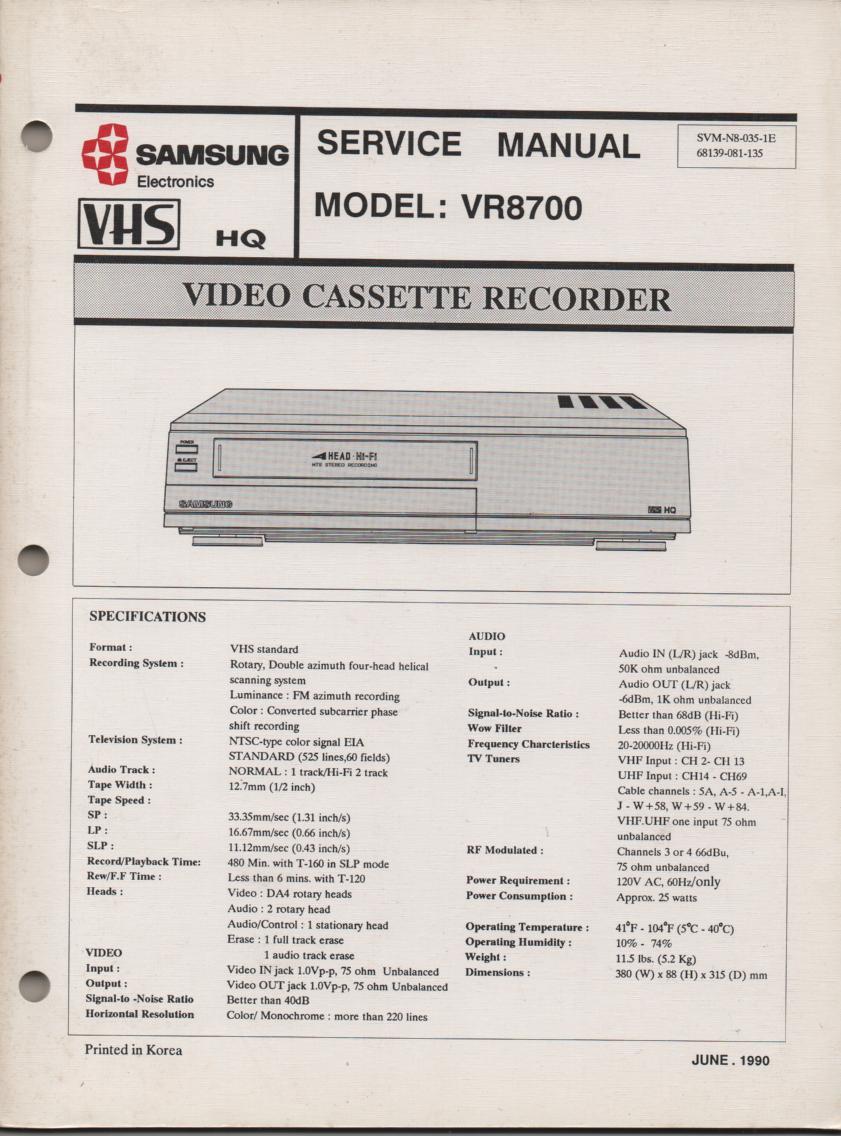 VR8700 VCR Service Manual