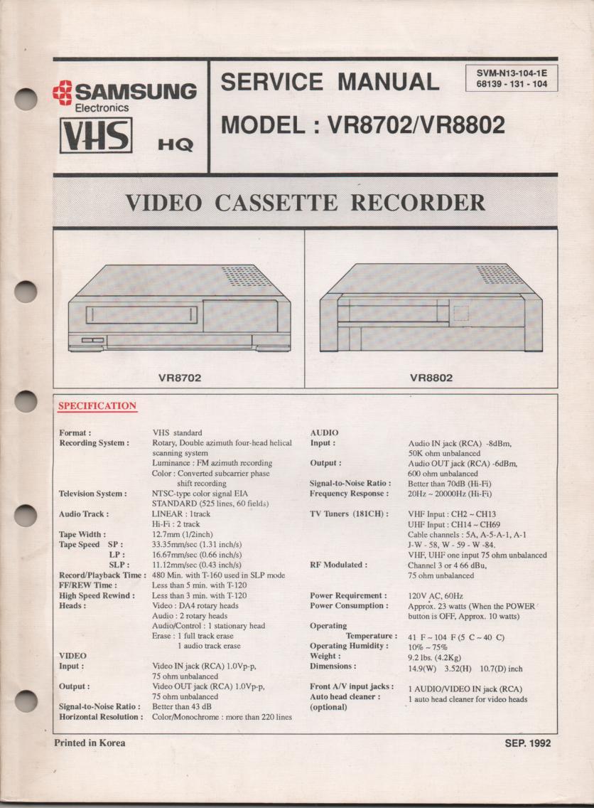VR8702 VR8802 VCR Service Manual