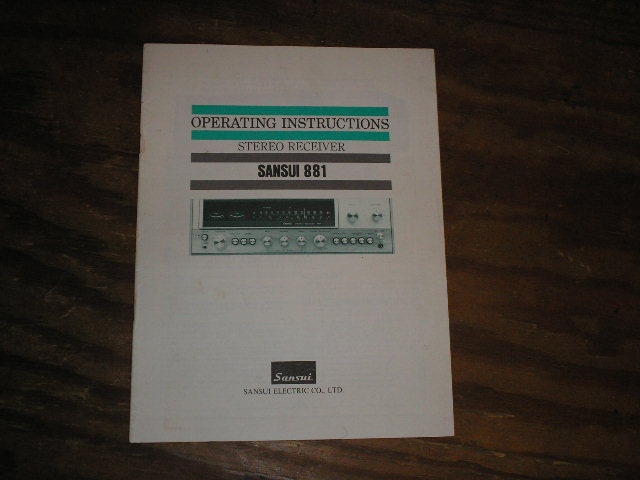 881 Receiver Operating Instruction Manual