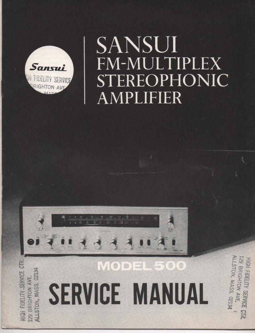 500 Amplifier Service Manual..  Contains AM FM alignments, parts list, schematic and picture diagram..