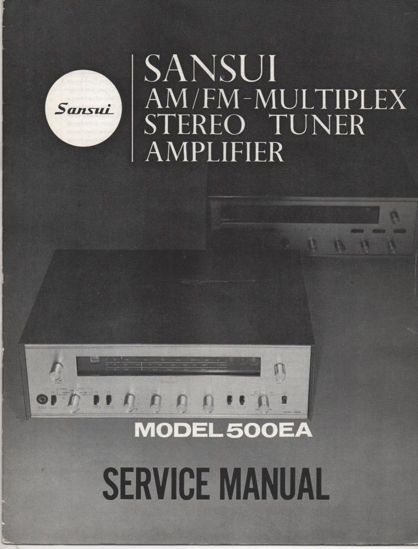 500EA Amplifier Service Manual.. Contains AM FM alignments, parts list, schematic and picture diagram..