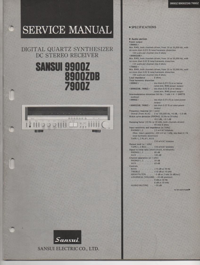 7900Z 8900ZDB 9900Z Receiver Service Manual