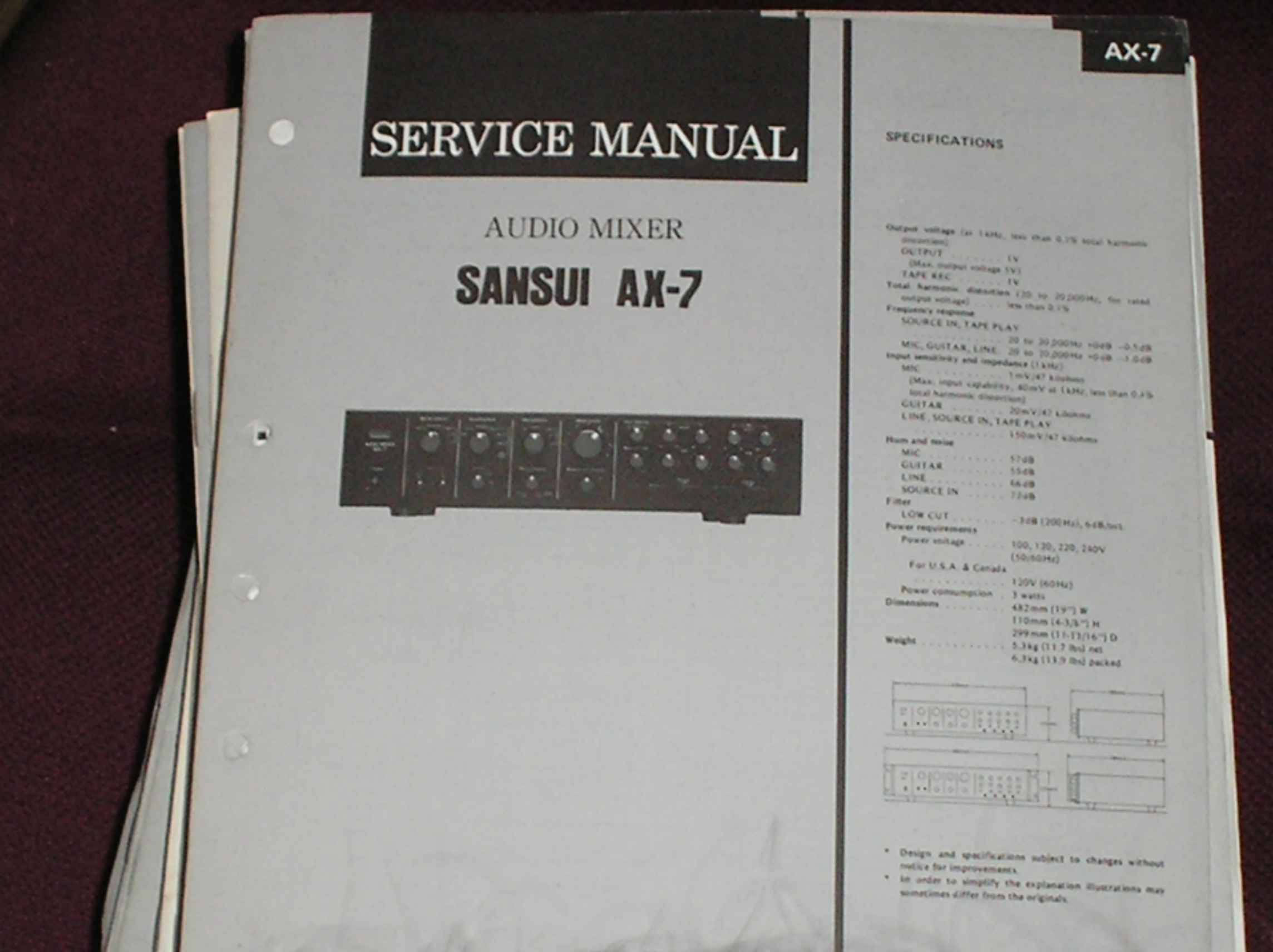 AX-7 Audio Mixer Service Manual