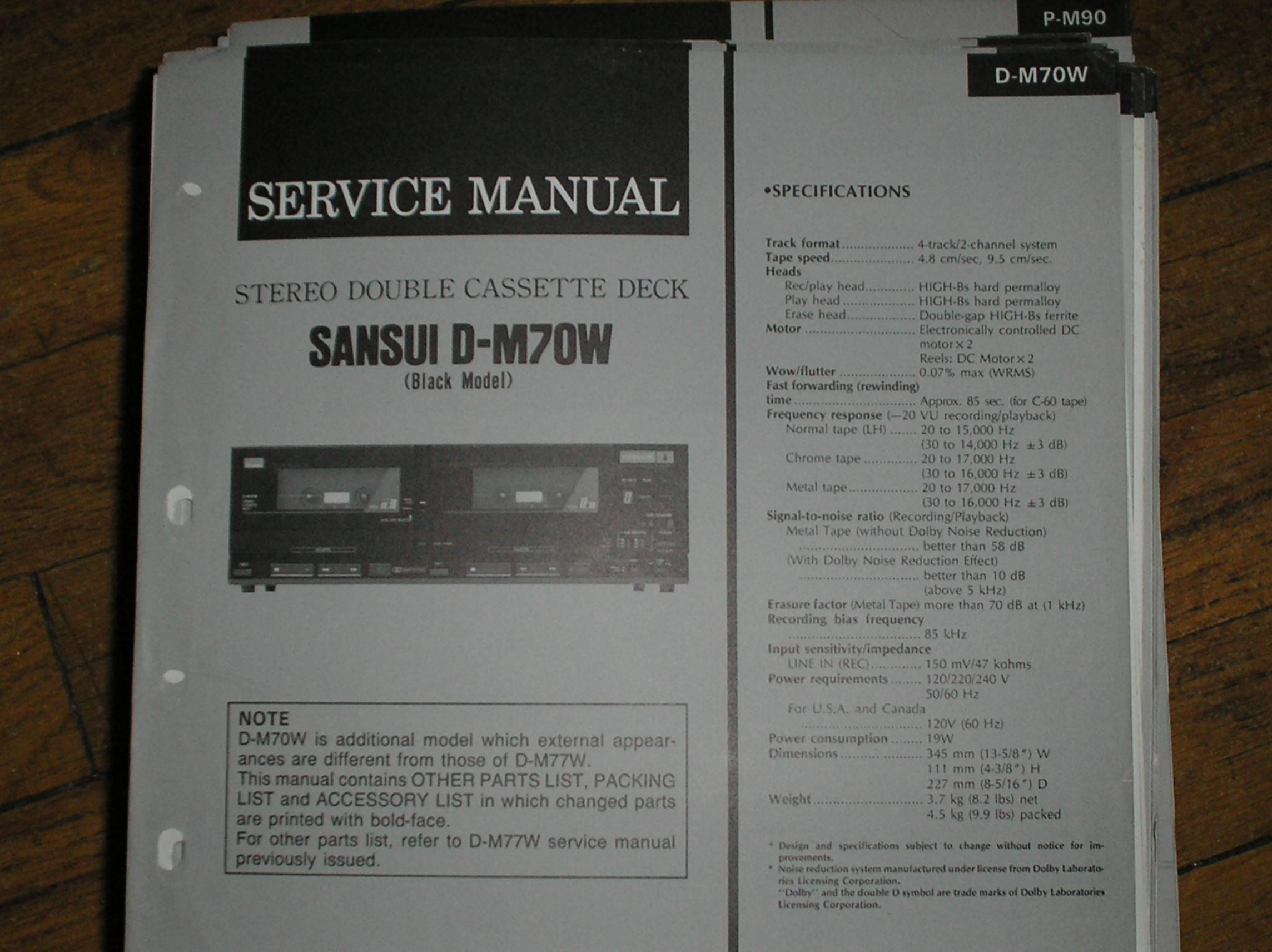 D-M70W Cassette Deck Service Manual
