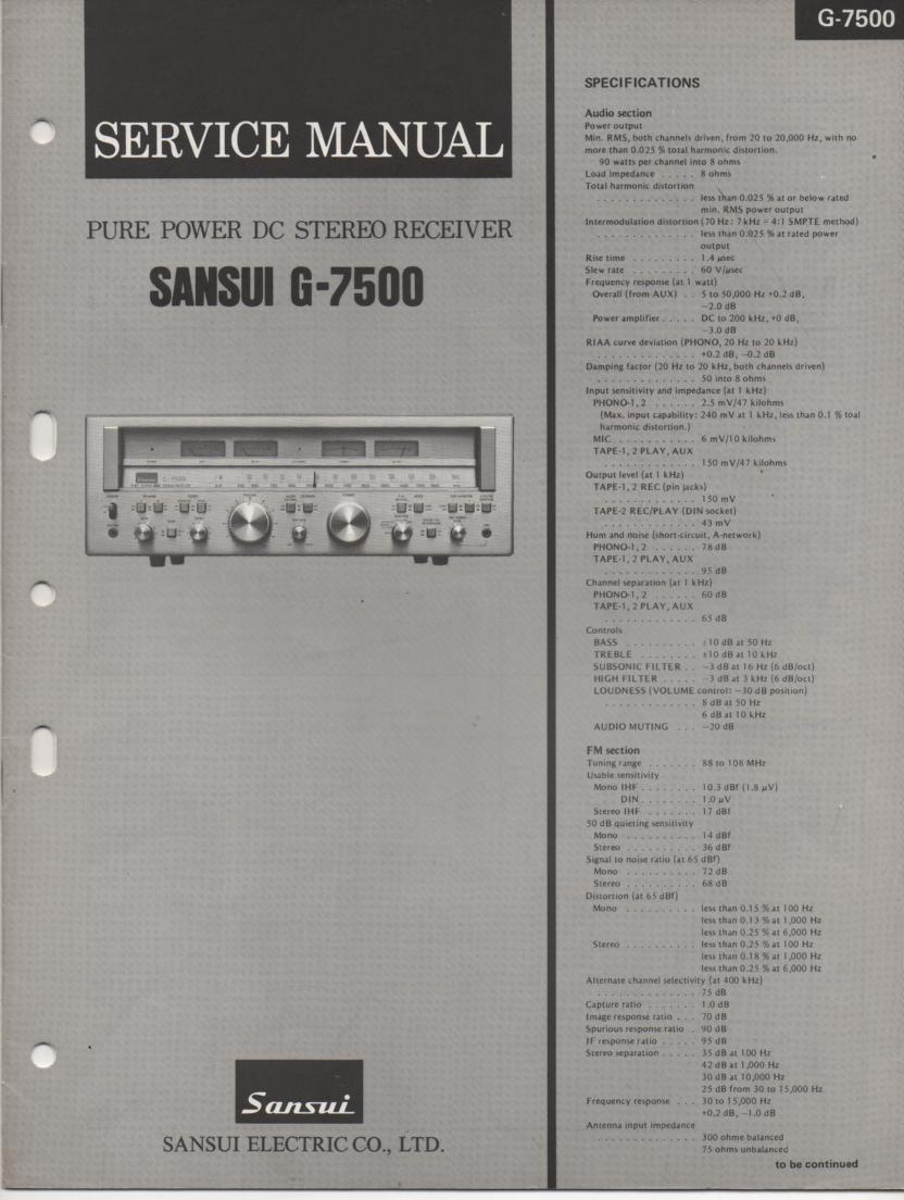 G-7500 Receiver Service Manual