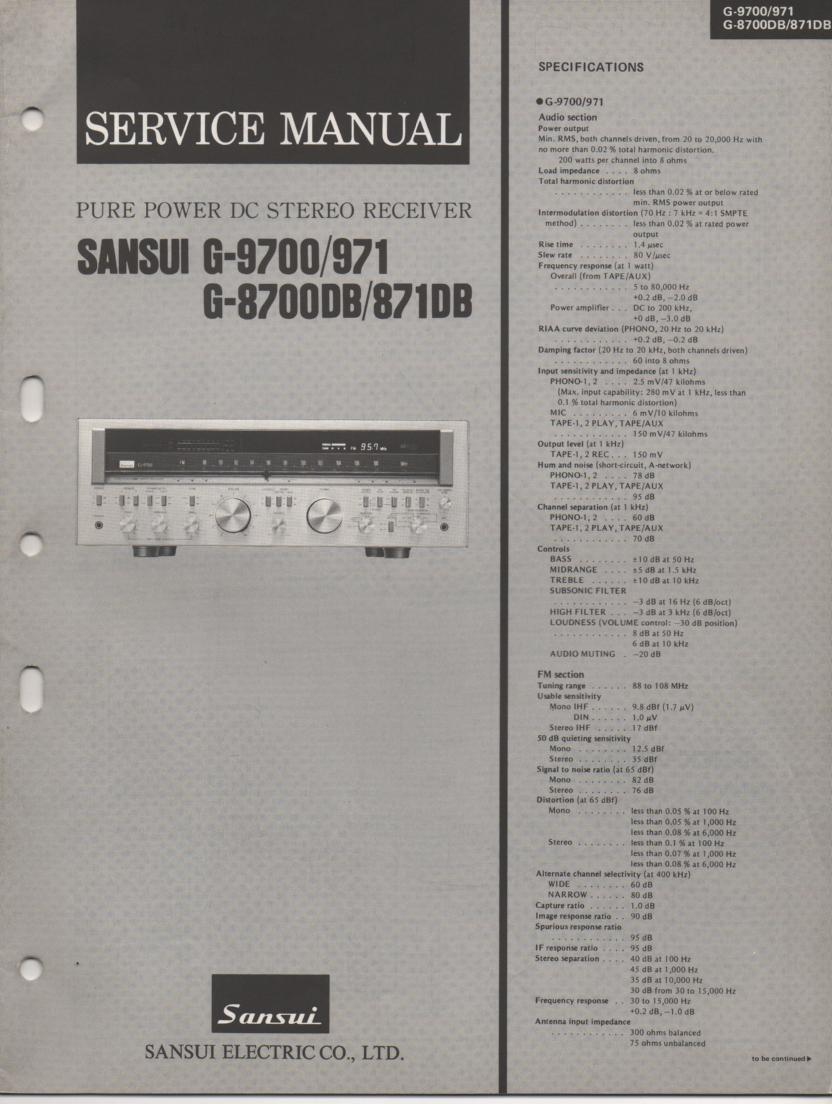 G-871DB G-971 G-8700DB G-9700 Receiver Service Manual
