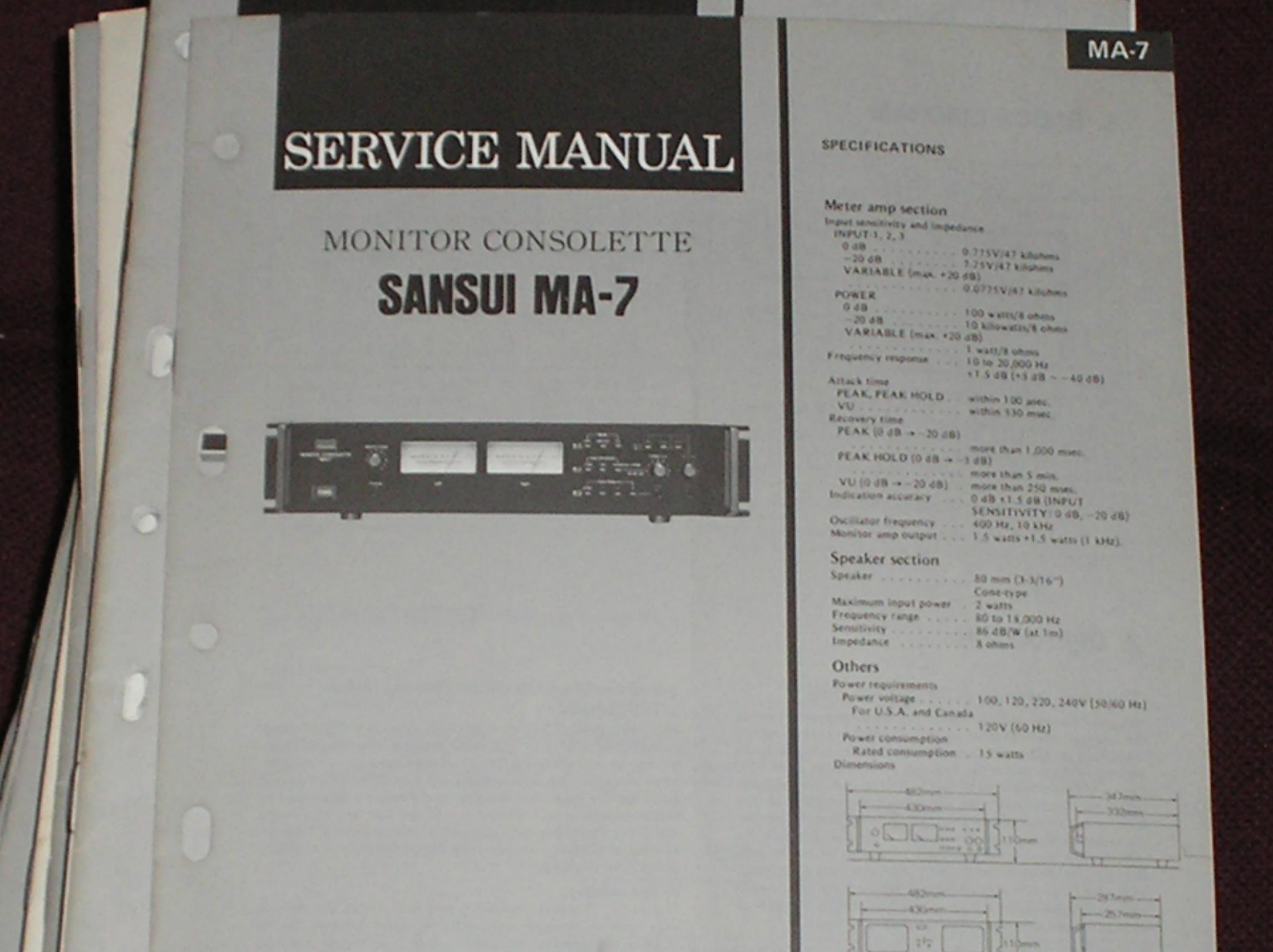 MA-7 Monitor Consolette Service Manual
