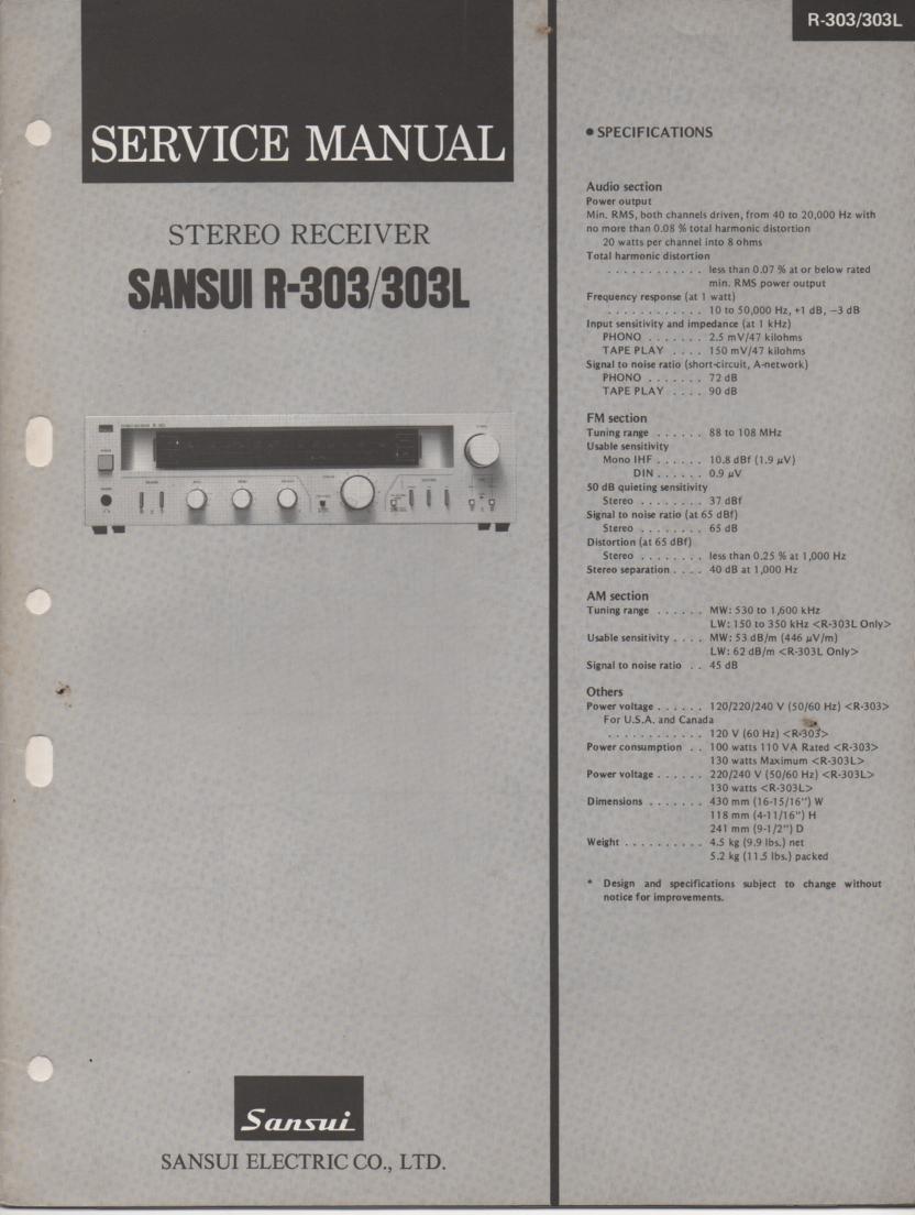R-303 R-303L Receiver Service Manual