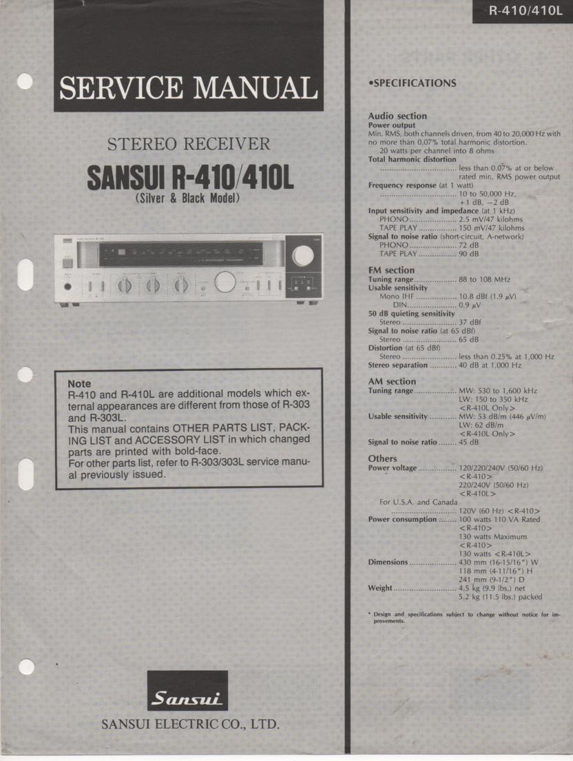 R-410 R-410L Receiver Service Manual