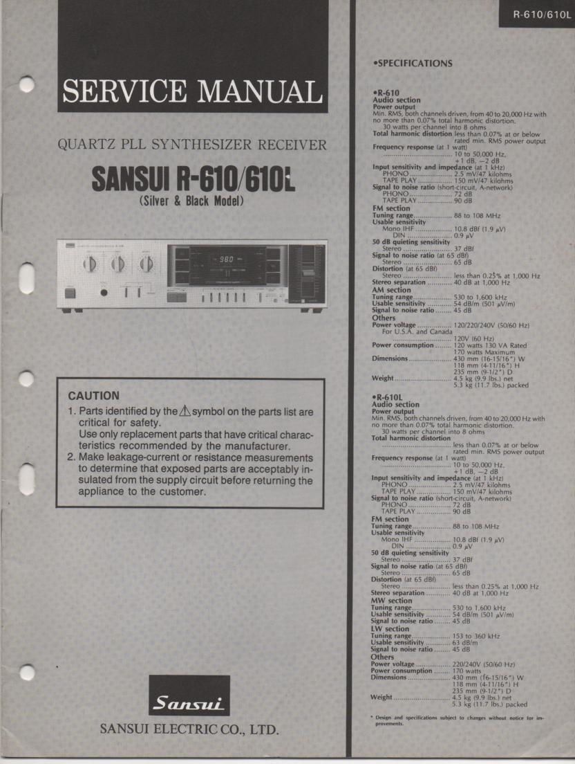 R-610 R-610L Receiver Service Manual