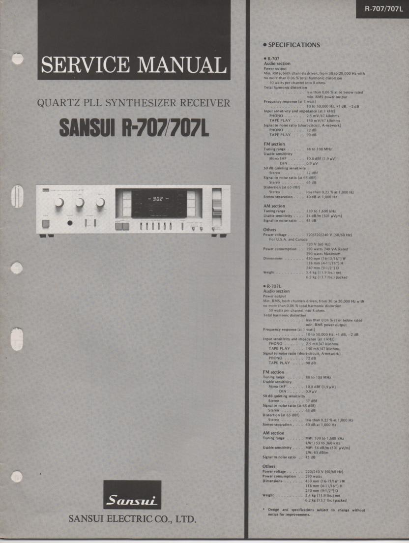 R-707 R-707L Receiver Service Manual