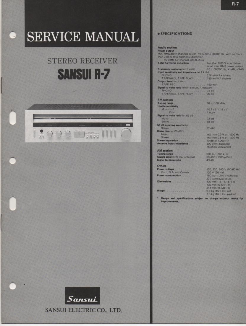 R-7 Receiver Service Manual