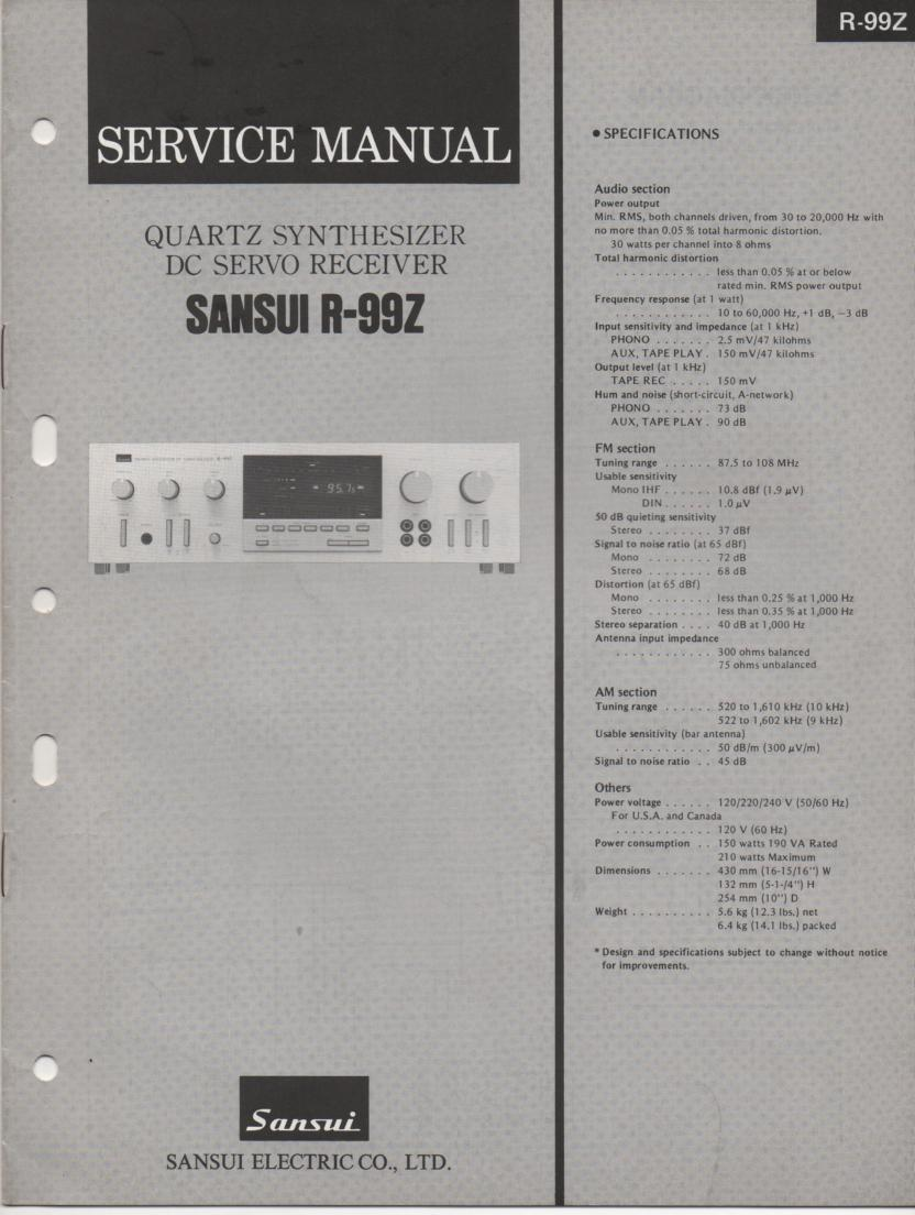 R-99Z Receiver Service Manual