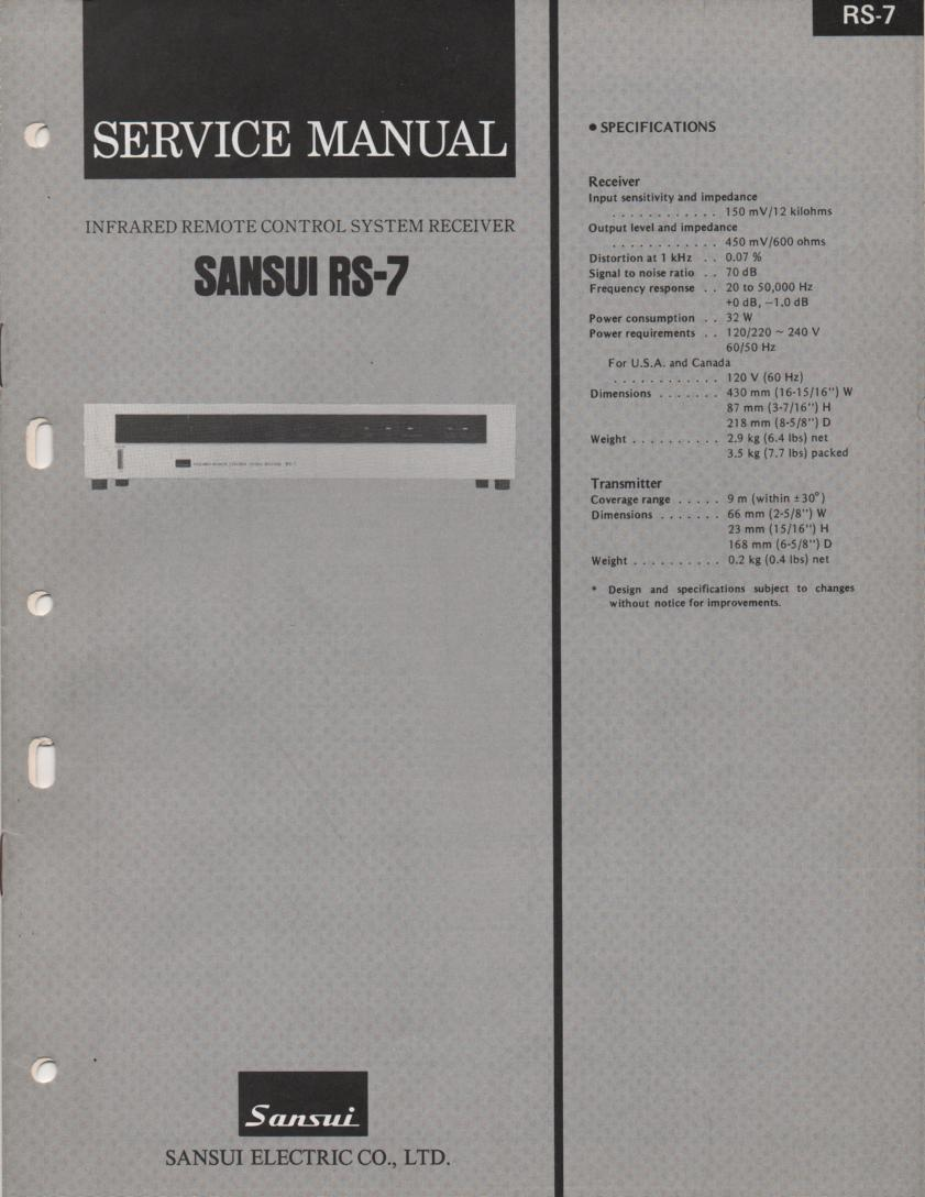 RS-7 Remote Control System Service Manual
