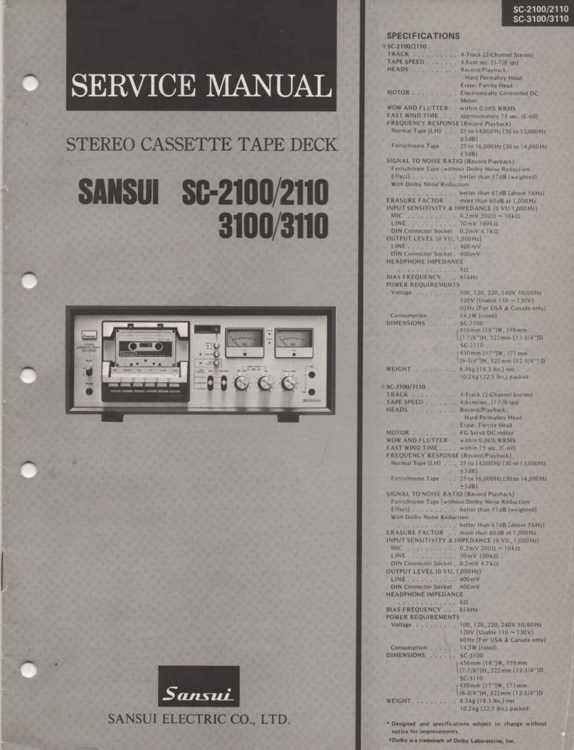 2110 SC-3100 SC-3110 Cassette Deck Service Manual