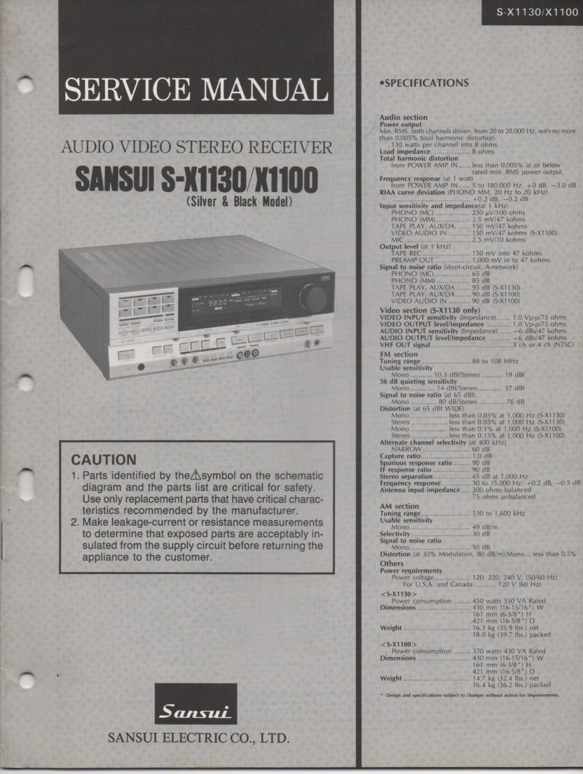 S-X1100 S-X1130 Receiver Service Manual