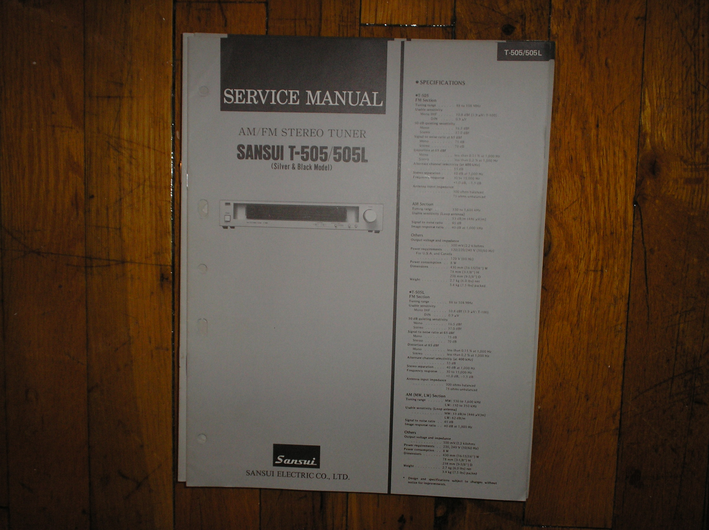 T-505 T-505L Tuner Service Manual