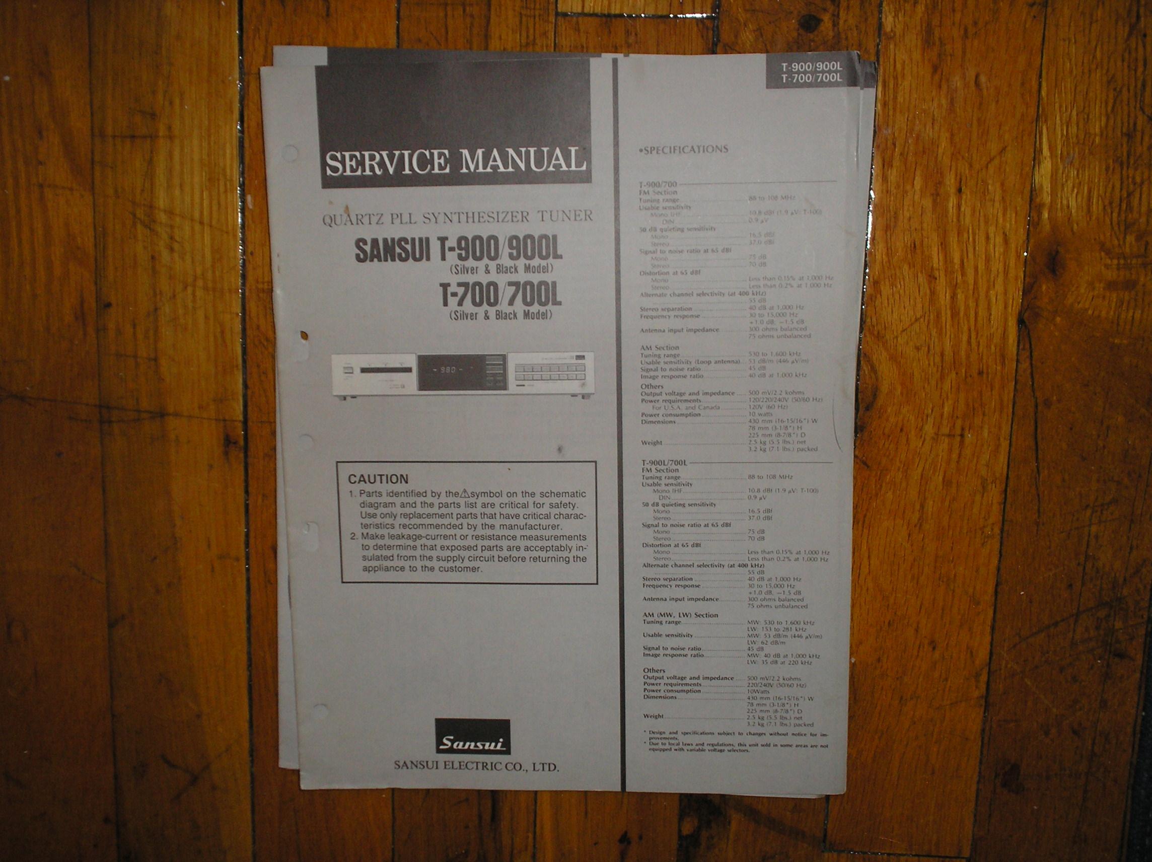 T-700 T-700L T-900 T-900L Tuner Service Manual